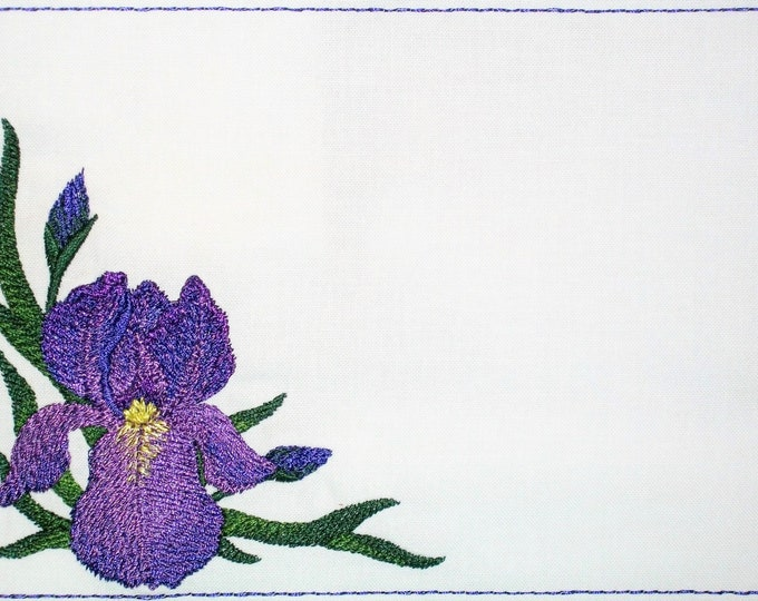 Purple Iris embroidered quilt label to customize with your personal message