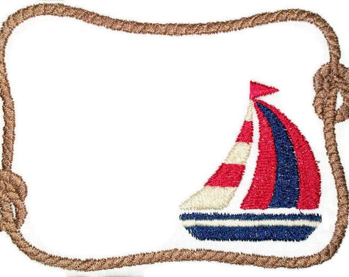 Sailboat and Rope embroidered quilt label for blocks or tops, to customize with your personal message