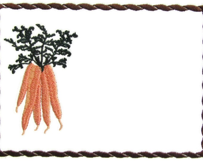 Garden Carrot embroidered quilt label to customize with your personal message