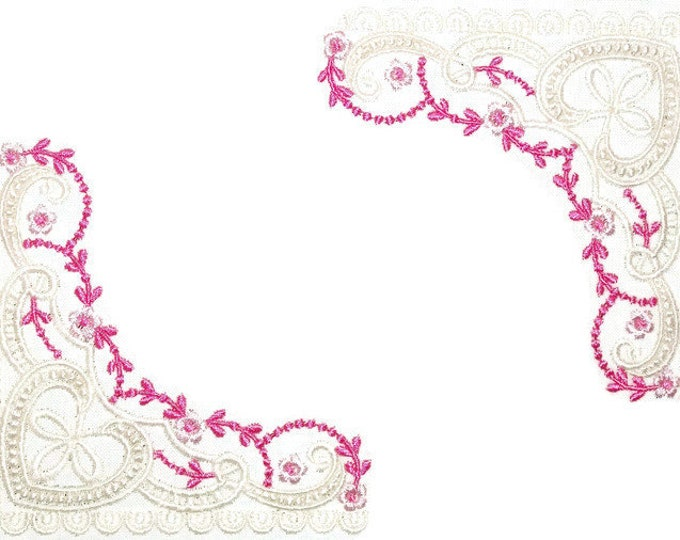 Elegant Lace embroidered quilt label to customize with your personal message