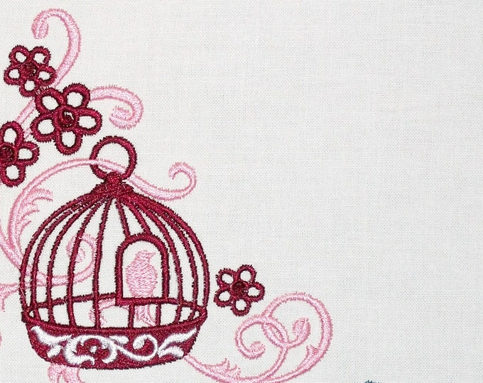 Birdcage scrollwork motif embroidered quilt label to customize with your personal message