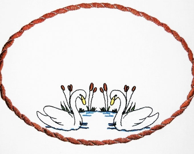 Swan pond embroidered quilt label to customize with your personal message