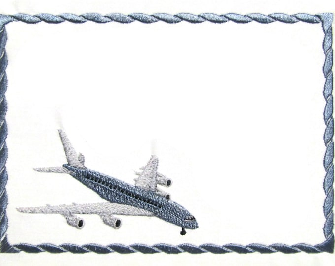 Airplane embroidered quilt label to customize with your personal message