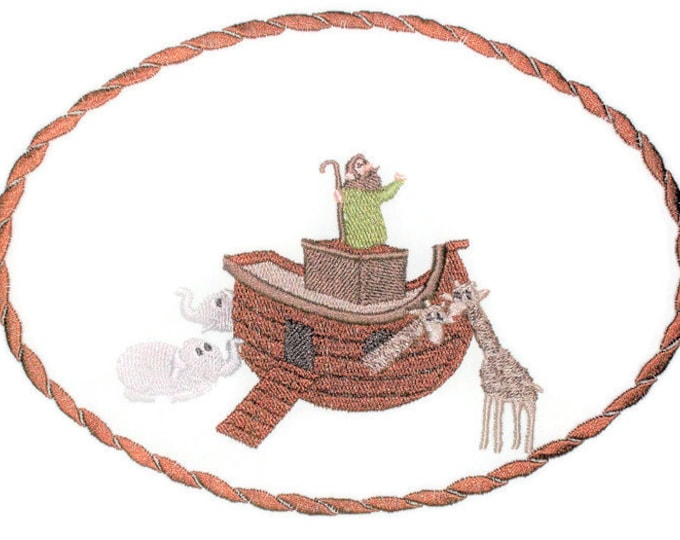 Noah's Ark embroidered quilt label to customize with your personal message