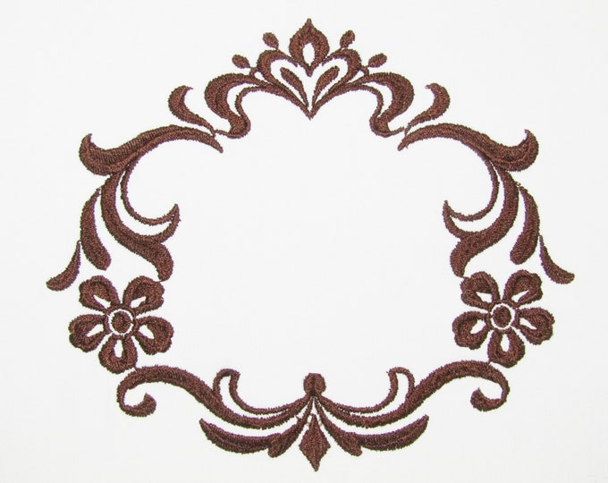 Damask brown frame embroidered quilt label to customize with your personal message