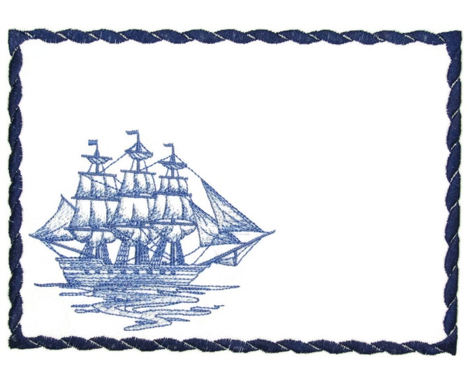 Sailing Ship embroidered quilt label to customize with your personal message
