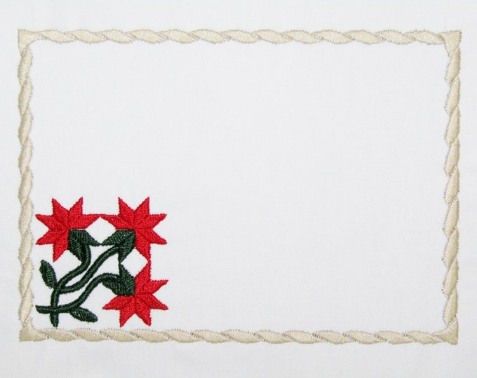 Red Peony Embroidered Quilt Label to customize with your personal message