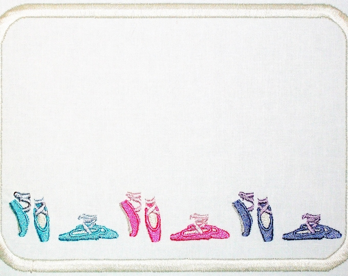 Ballerina slippers embroidered quilt label, to customize with your personal message