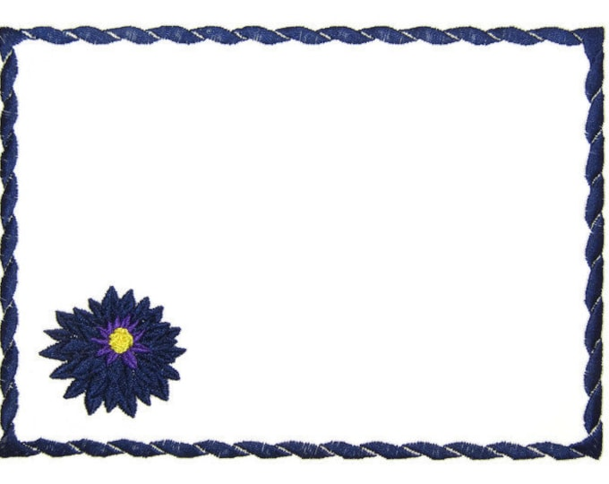 Solid Dahlia Bloom embroidered quilt label to customize with your personal message