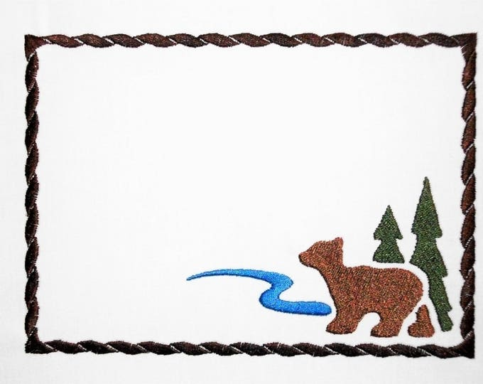 Bear Northwoods embroidered quilt label to customize with your personal message