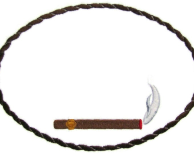 Cigar embroidered quilt label to customize with your personal message