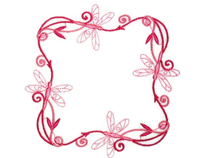 Pink Dragonflies Embroidered quilt label to customize with your personal message