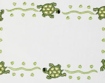 Turtle tracks Embroidered Quilt Label to customize with your personal message