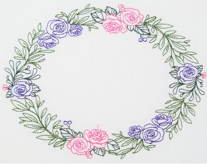 Rose Wreath embroidered quilt label to customize with your personal message