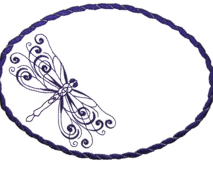 Dark Purple dragonfly embroidered quilt label to customize with your personal message