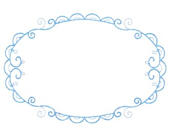 Blue Filigree oval embroidered quilt label to customize with your personal message