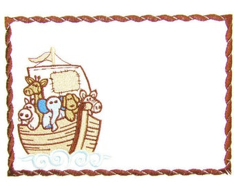 Noah's Ark animals embroidered quilt label to customize with your personal message