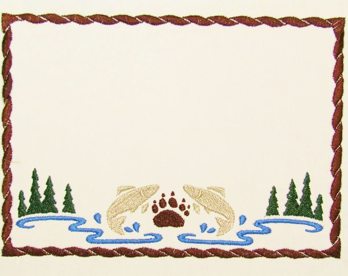 North woods embroidered quilt label to customize with your personal message
