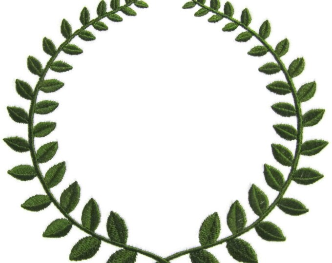 Laurel Wreath embroidered quilt label to customize with your personal message