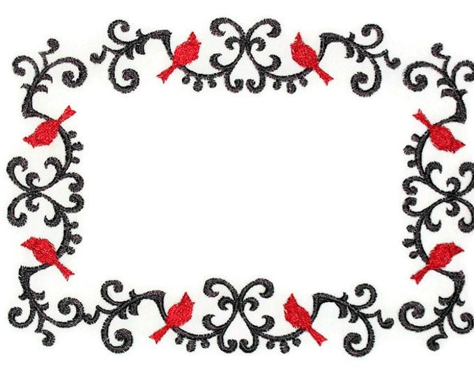 Cardinal wrought iron themed embroidered quilt label to personalize