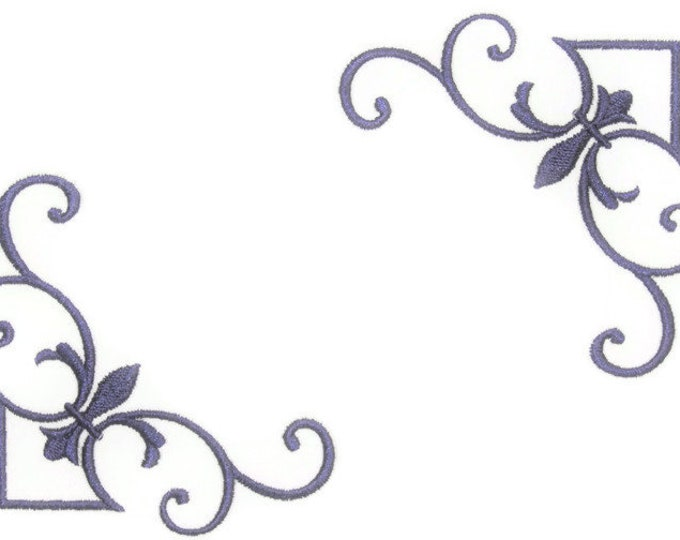 Purple Scrolled embroidered quilt label to customize with your personal message