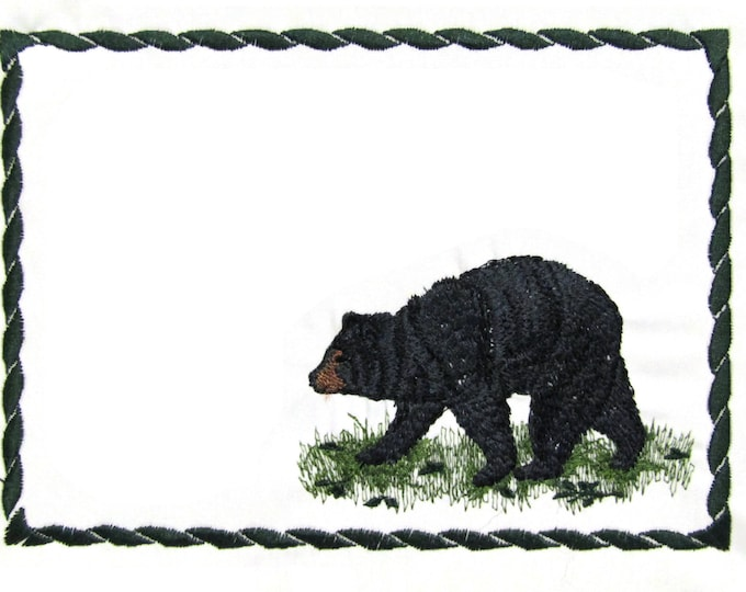 Black Bear embroidered quilt label to customize with your personal message