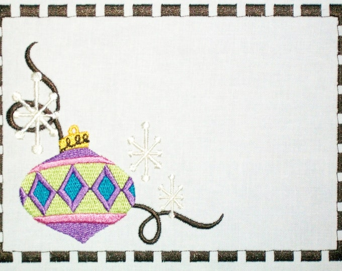 Art Deco christmas ornament embroidered quilt label to customize with your personal message