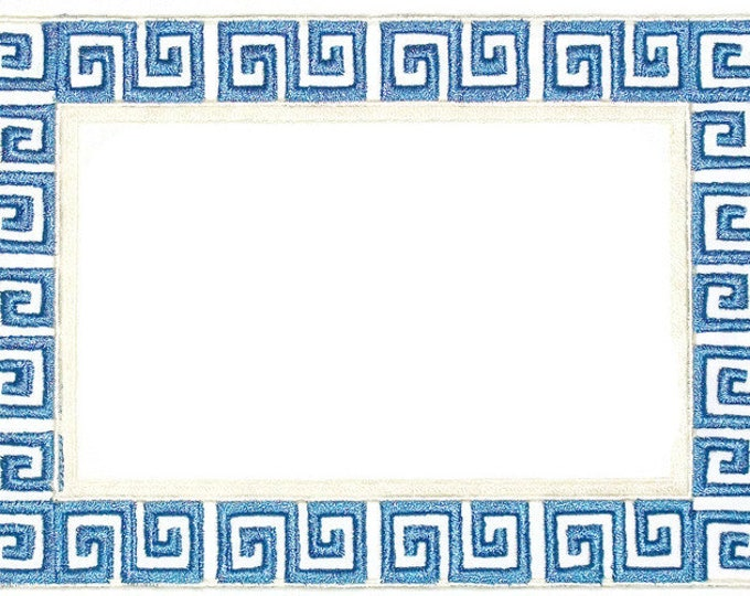 Greek Key embroidered quilt label to customize with your personal message