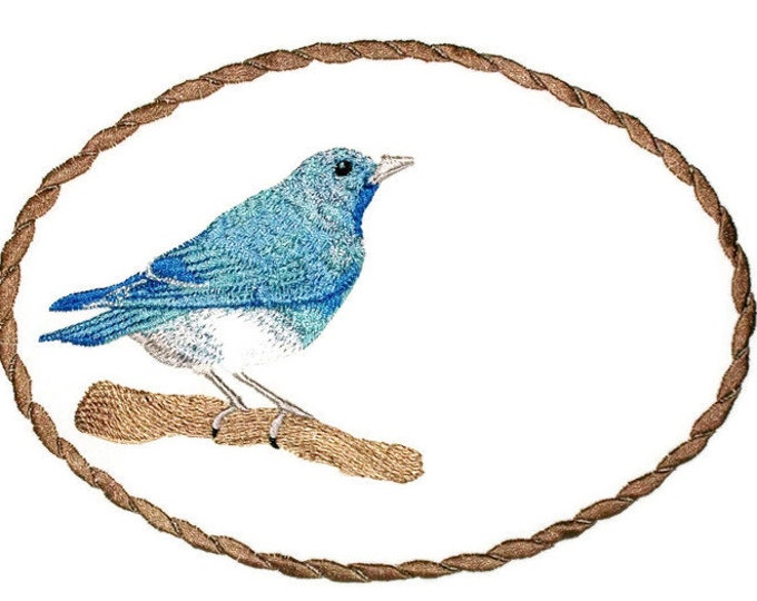 Mountain blue bird embroidered quilt label to customize with your personal message
