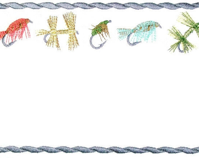Fishing flies embroidered quilt label, to customize with your personal message