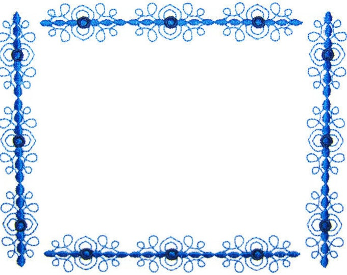 Blue Filigree scroll embroidered quilt label to customize with your personal message