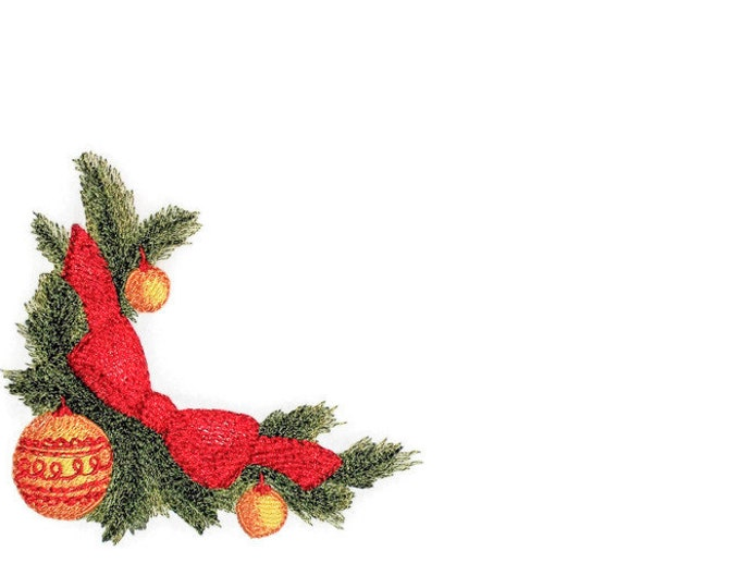 Christmas greenery motif embroidered quilt label to customize with your personal message
