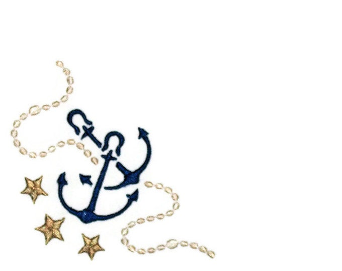 Nautical anchor embroidered quilt label to customize with your personal message