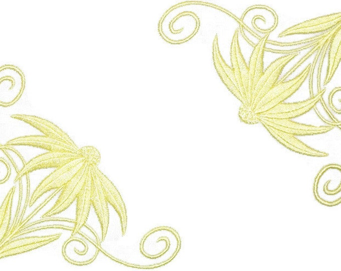 Yellow Daisy embroidered quilt label to customize with your personal message