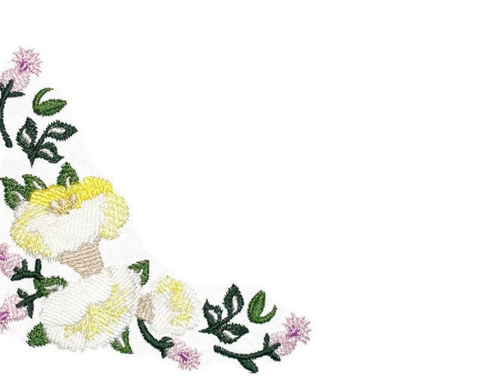 Floral corner motif embroidered quilt label to customize with your personal message