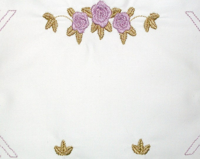 Art Deco Rose embroidered quilt label, to customize with your personal message