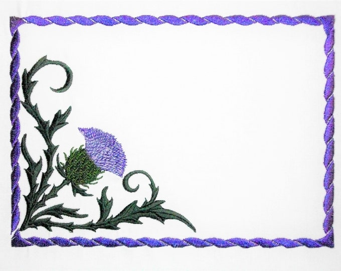 Thistle embroidered quilt label to customize with your personal message