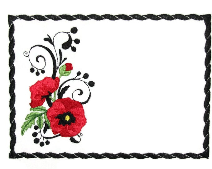Poppy embroidered quilt label to customize with your personal message