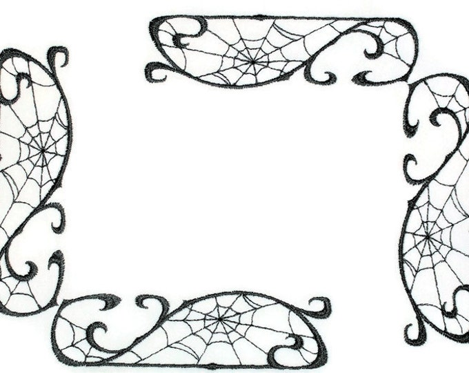 Spiderweb embroidered quilt label to customize with your personal message