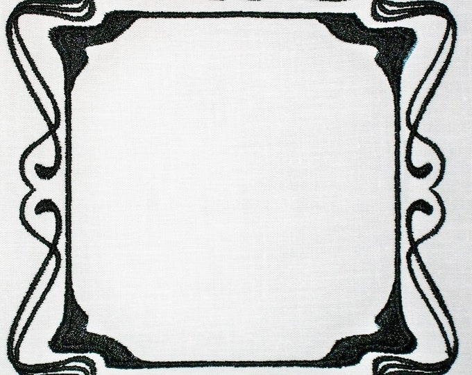 Filigree frame embroidered quilt label to customize with your personal message