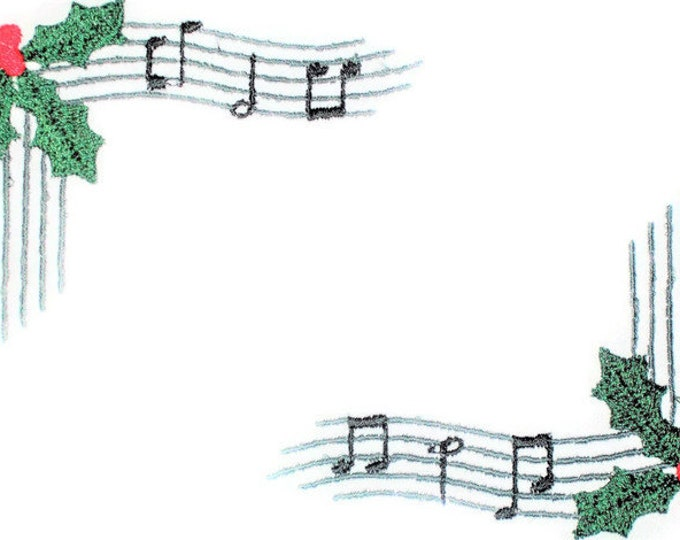 Musical Christmas holly & berries embroidered quilt label to customize with your personal message