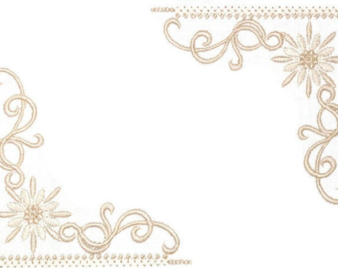 Beige floral scrollwork embroidered quilt label to customize with your personal message