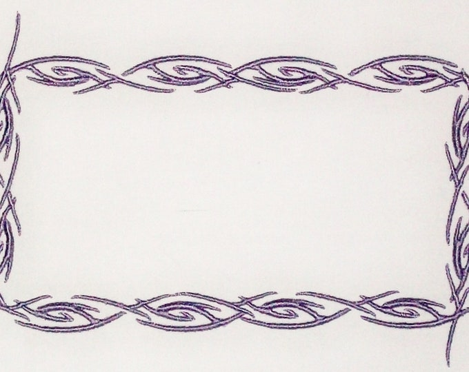 Barbed Wire embroidered quilt label to customize with your personal message