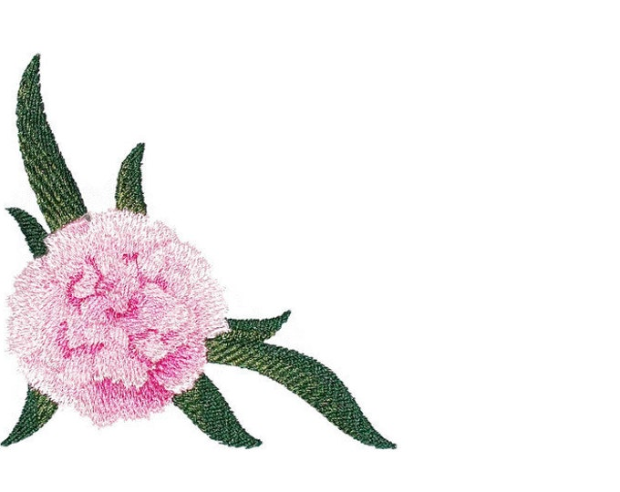 PInk Carnation flower  Embroidered Quilt Label to customize with your personal message