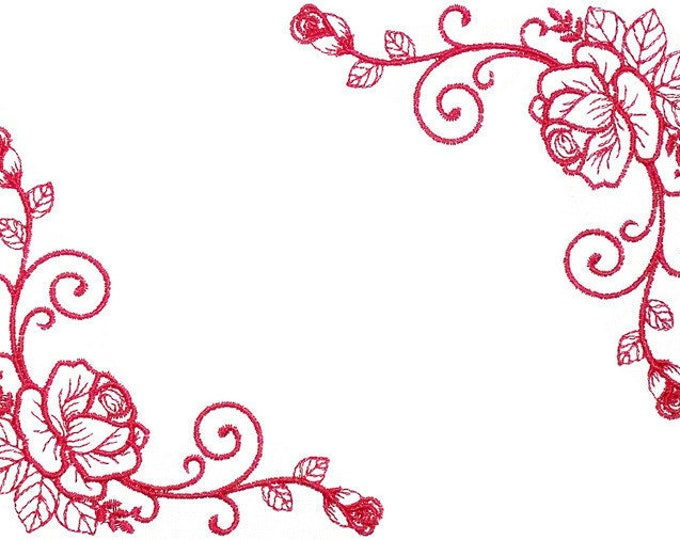 Redwork roses embroidered quilt label to customize with your personal message