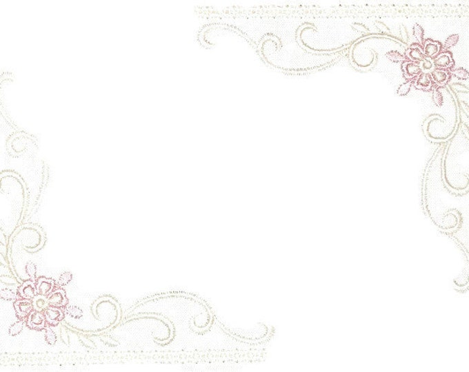 Pink floral scrollwork quilt label to customize with your personal message