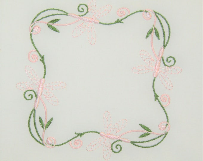 Dragonfly frame embroidered quilt label to customize with your personal message