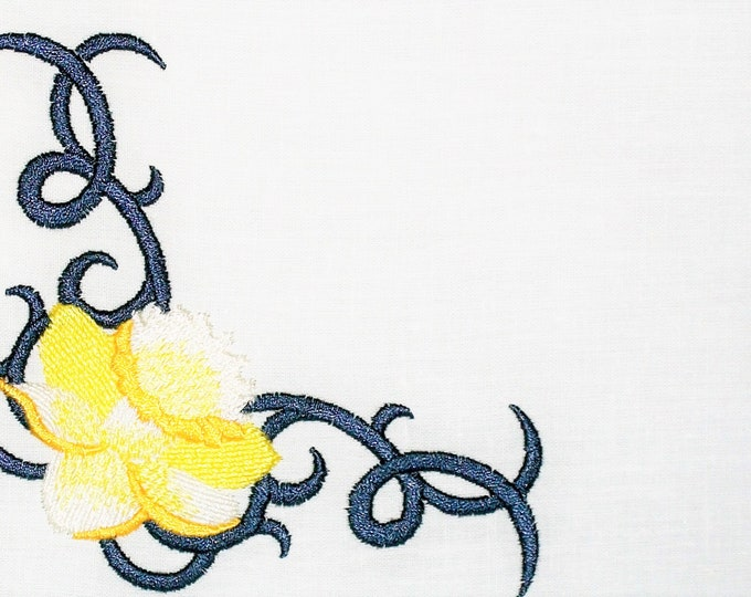 Daffodil embroidered quilt label to customize with your personal message