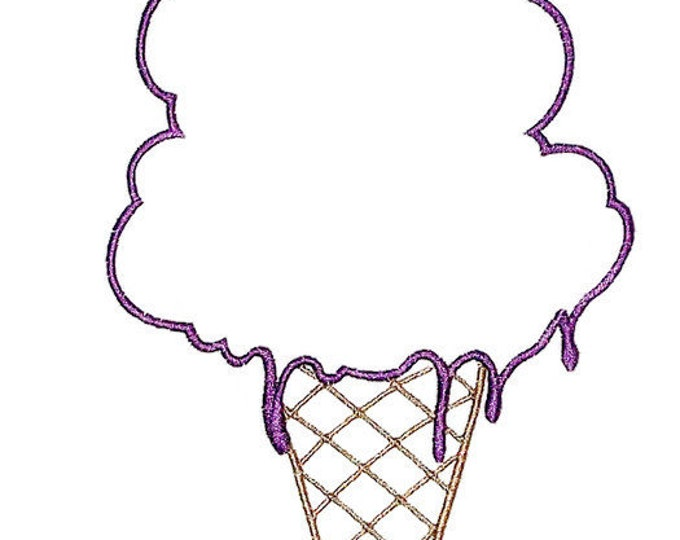 Ice Cream cone outline embroidered quilt label to customize with your personal message