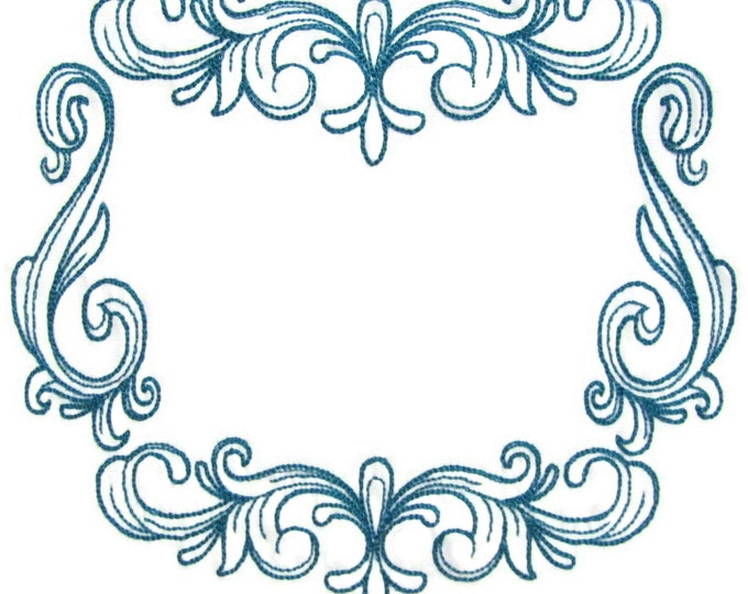 Teal motif embroidered quilt label to customize with your personal message